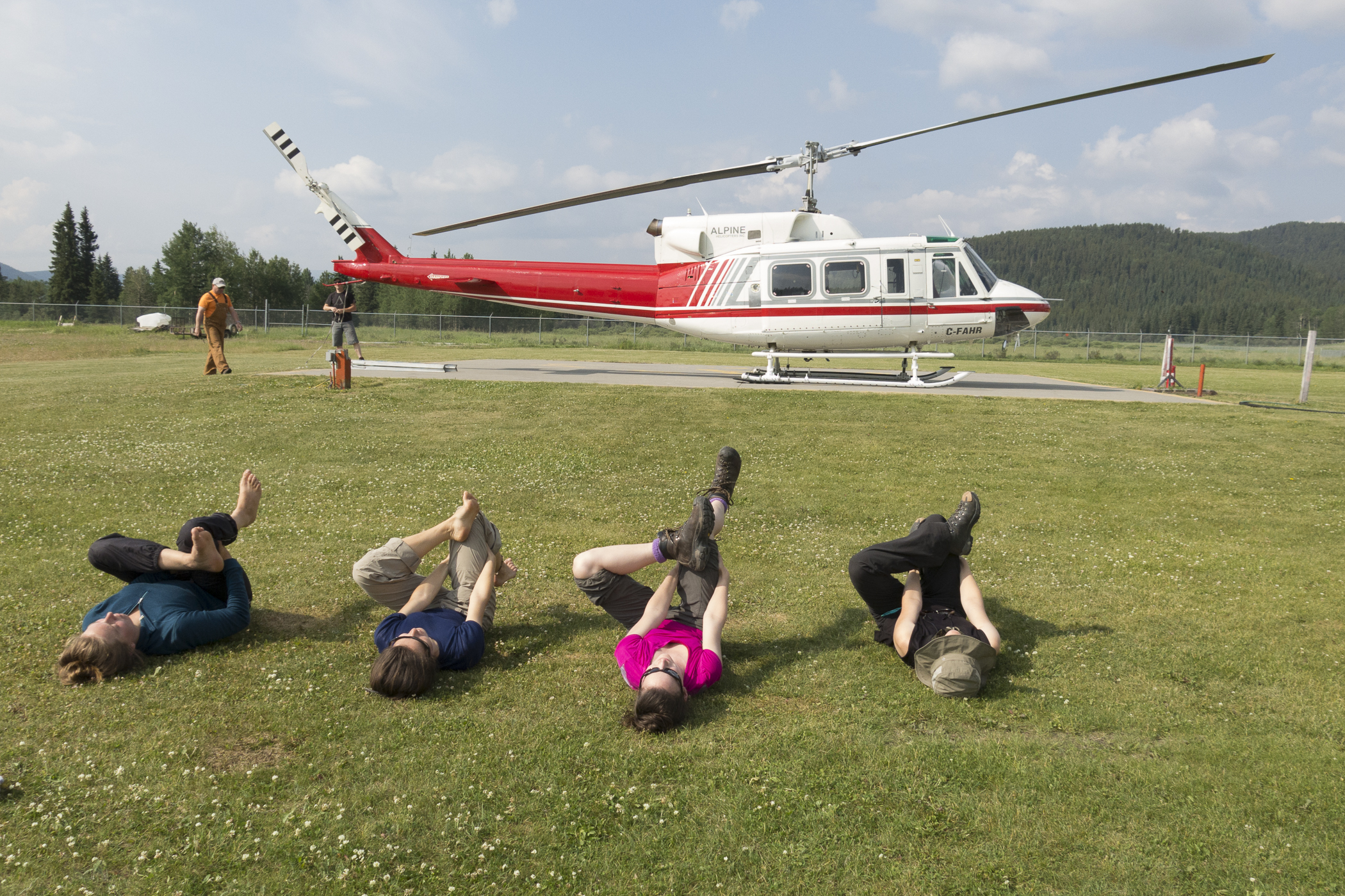 Morning yoga at the helipad
