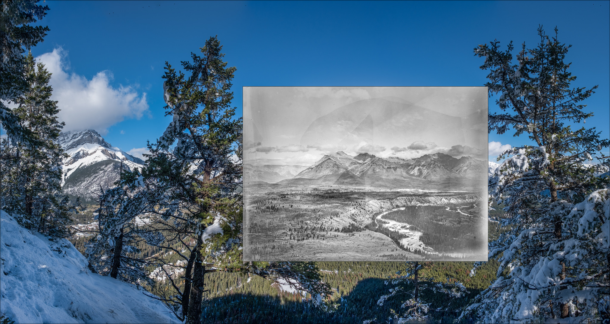 Looking eastward from Tunnel Mtn: 1888 (inset)