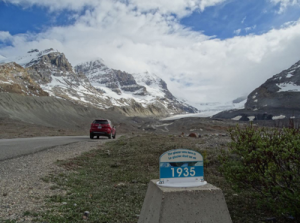1935 year marker at Athabasca Glacier