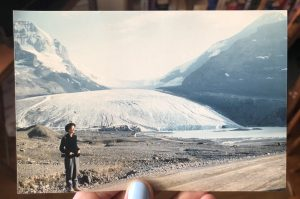 My grandmother, Janet Hopwell, standing in front of the Athabasca Glacier in Jasper National Park, July, 1958.