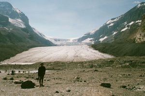 Me (Jessica Duncan), standing in front of the Athabasca Glacier in Jasper National Park, August, 2020.