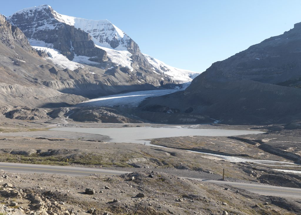 Repeat photo of Wheeler 1917 from the Interprovincial Boundary Survey. Athabasca glacier in 2011 taken by the MLP field team
