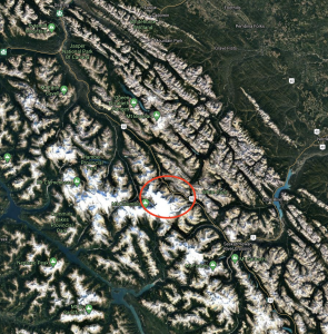 Map of the BC/Alberta border with a circle indicating the location of the Athabasca Glacier